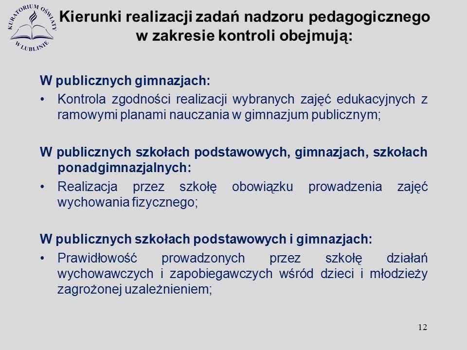 Kierunki realizacji zadań nadzoru pedagogicznego w zakresie kontroli obejmują: W publicznych gimnazjach: Kontrola zgodności realizacji wybranych zajęć