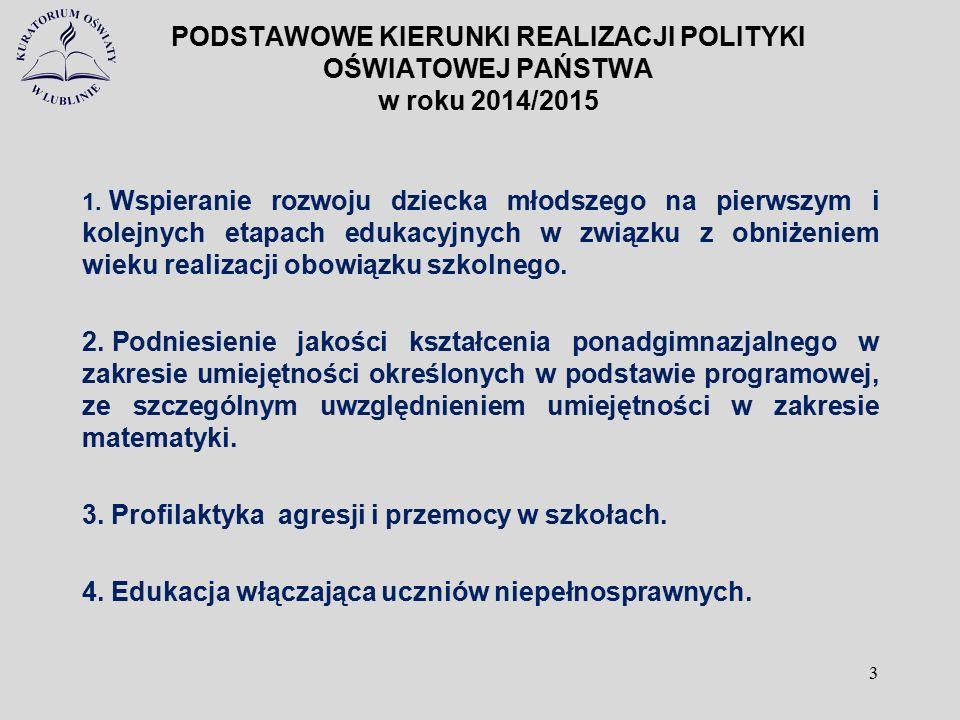 PODSTAWOWE KIERUNKI REALIZACJI POLITYKI OŚWIATOWEJ PAŃSTWA w roku 2014/2015 1. Wspieranie rozwoju dziecka młodszego na pierwszym i kolejnych etapach e