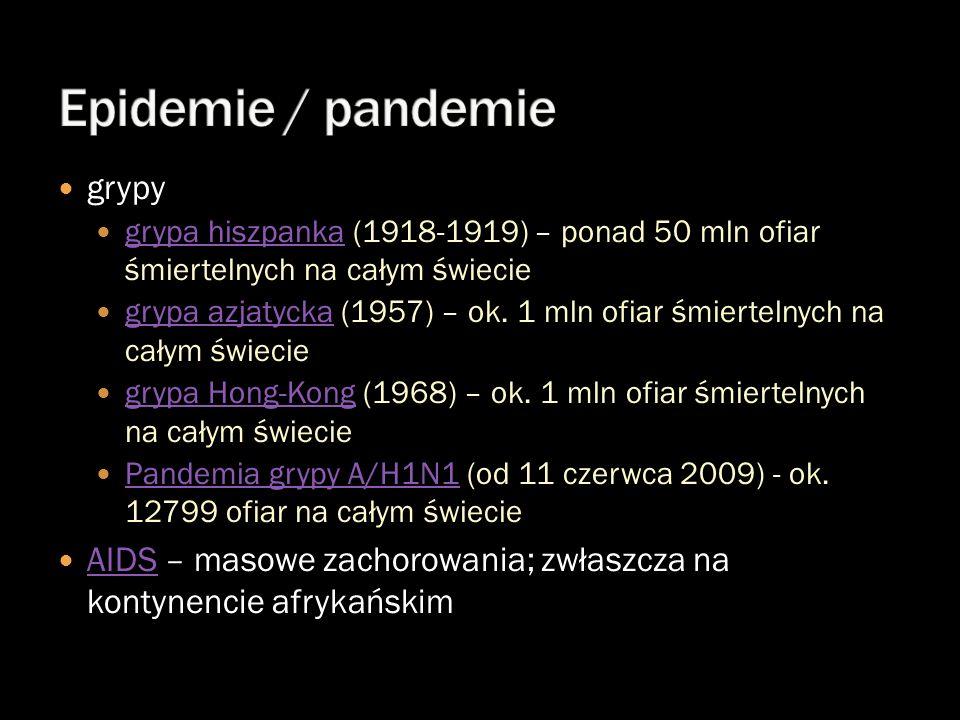 grypy grypa hiszpanka (1918-1919) – ponad 50 mln ofiar śmiertelnych na całym świecie grypa hiszpanka grypa azjatycka (1957) – ok. 1 mln ofiar śmiertel