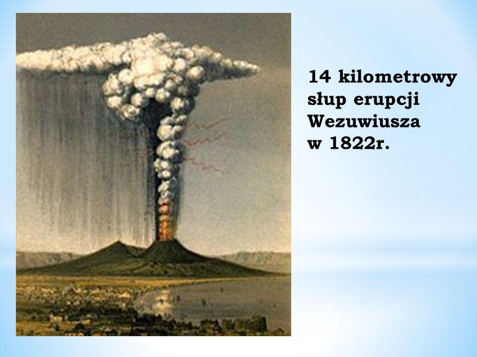 14 kilometrowy słup erupcji Wezuwiusza w 1822r.