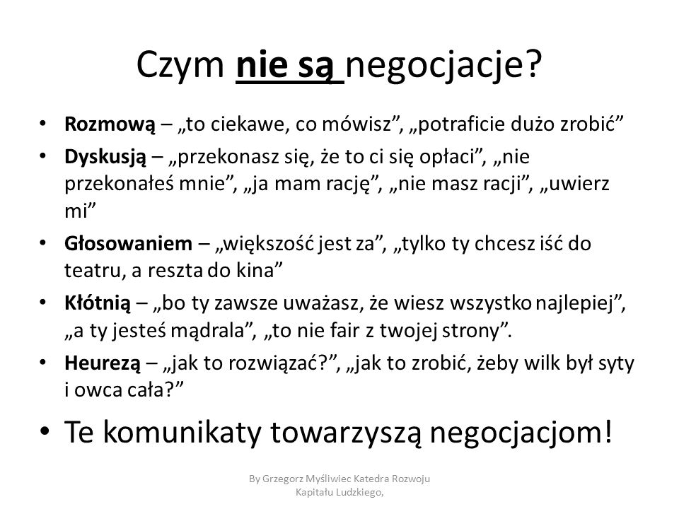 Czym nie są negocjacje.