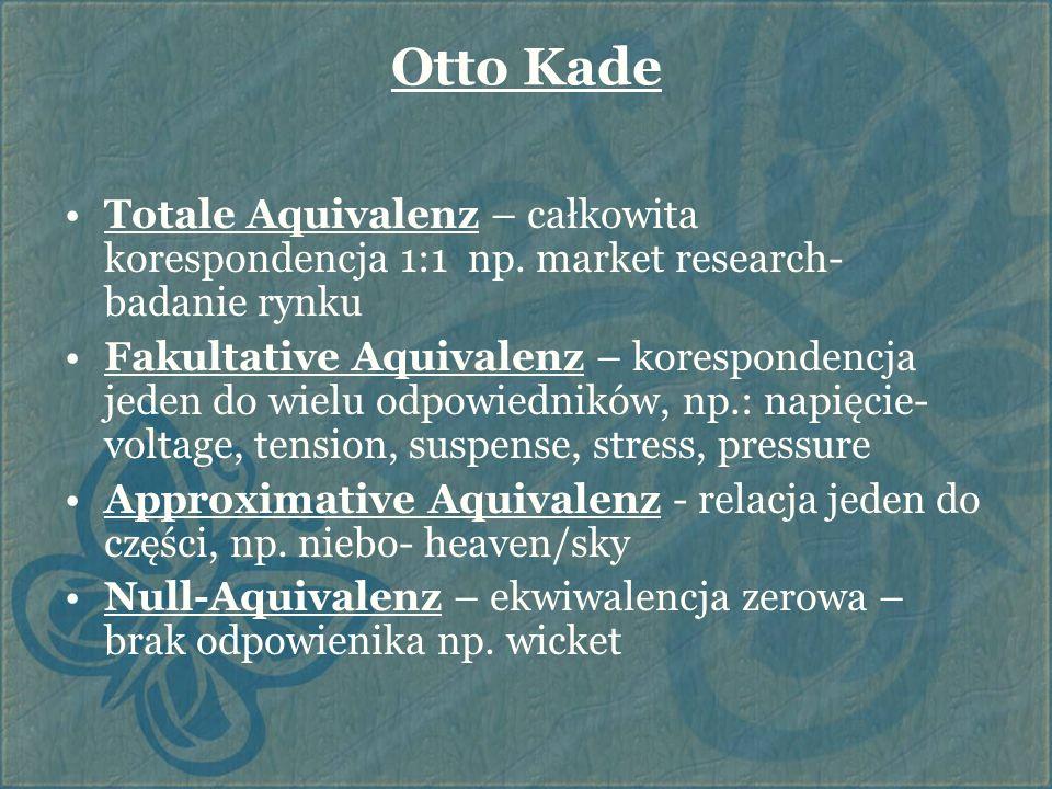 Otto Kade Totale Aquivalenz – całkowita korespondencja 1:1 np. market research- badanie rynku Fakultative Aquivalenz – korespondencja jeden do wielu o