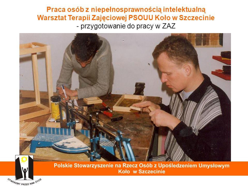 Praca osób z niepełnosprawnością intelektualną Warsztat Terapii Zajęciowej PSOUU Koło w Szczecinie - przygotowanie do pracy w ZAZ 31