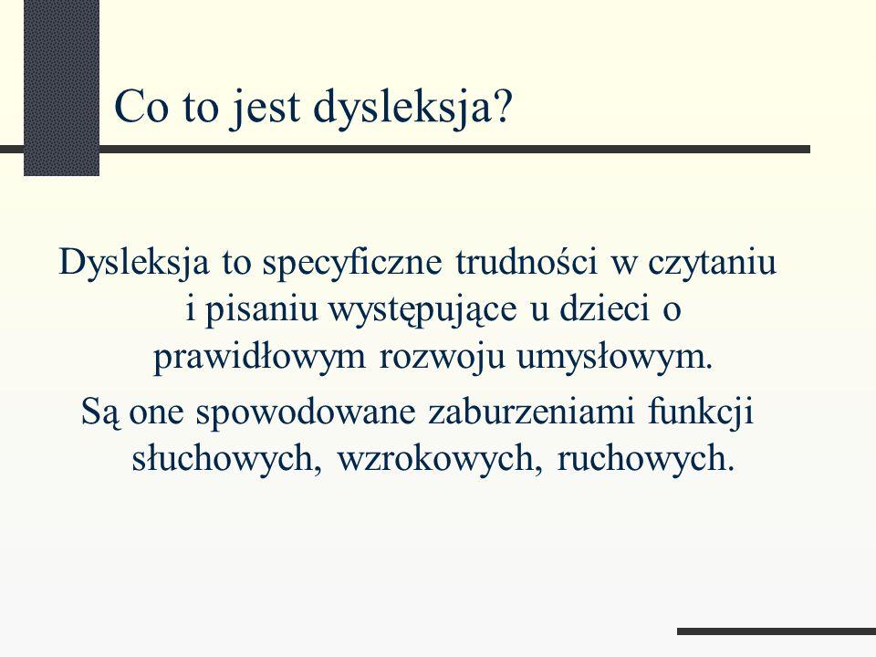 Wyróżnia się kilka postaci tych trudności Dysleksja- trudności w czytaniu pojawiające się często z trudnościami w pisaniu.