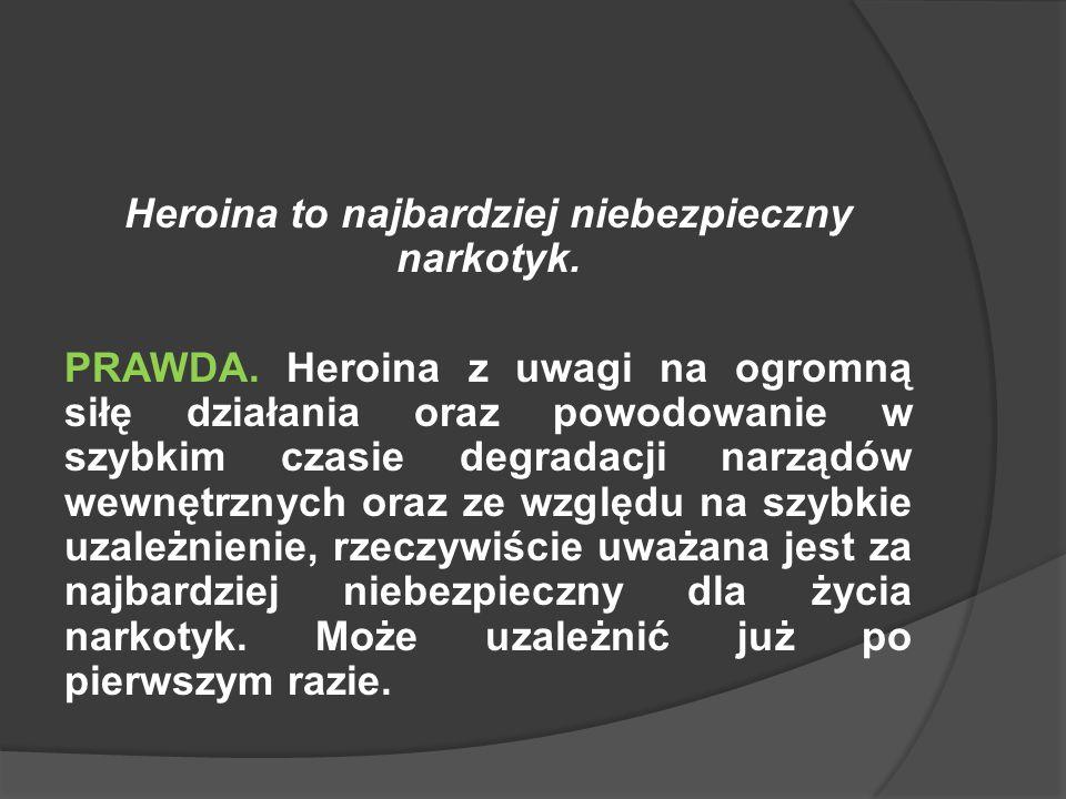 Heroina to najbardziej niebezpieczny narkotyk.PRAWDA.
