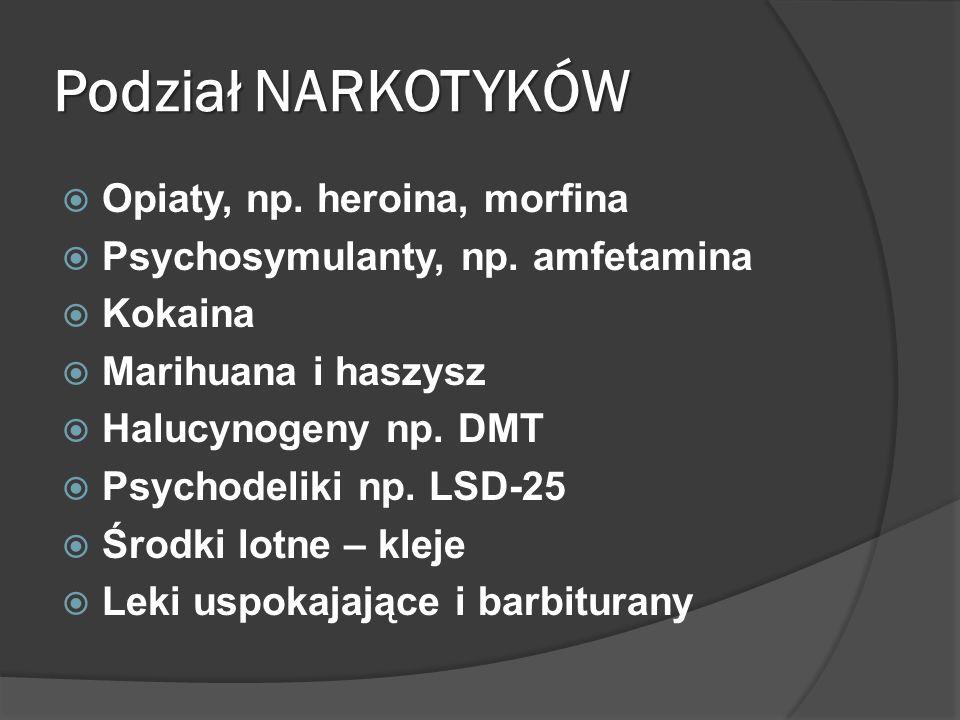 Podział NARKOTYKÓW  Opiaty, np.heroina, morfina  Psychosymulanty, np.