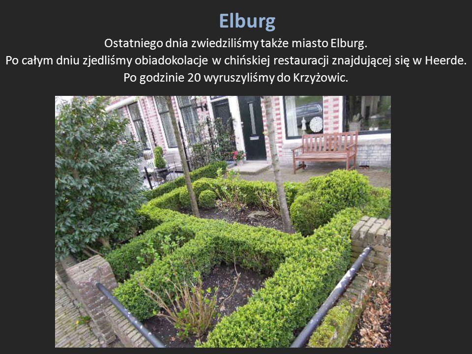 Elburg Ostatniego dnia zwiedziliśmy także miasto Elburg. Po całym dniu zjedliśmy obiadokolacje w chińskiej restauracji znajdującej się w Heerde. Po go