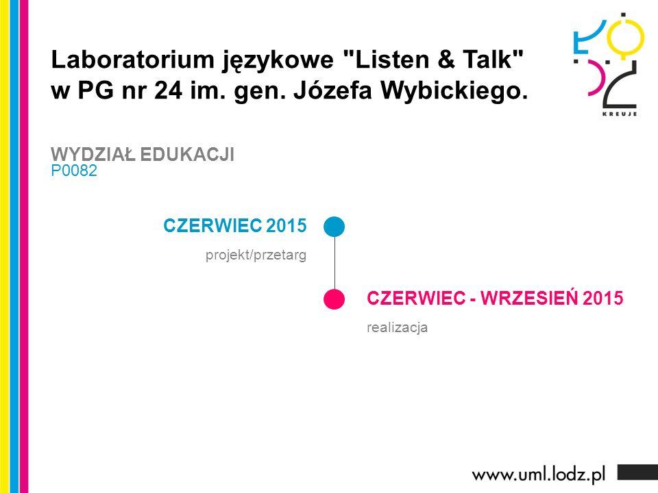CZERWIEC 2015 projekt/przetarg CZERWIEC - WRZESIEŃ 2015 realizacja Laboratorium językowe