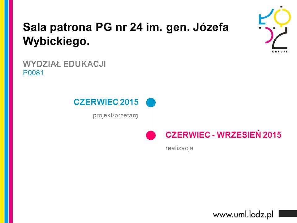 CZERWIEC 2015 projekt/przetarg CZERWIEC - WRZESIEŃ 2015 realizacja Sala patrona PG nr 24 im. gen. Józefa Wybickiego. WYDZIAŁ EDUKACJI P0081