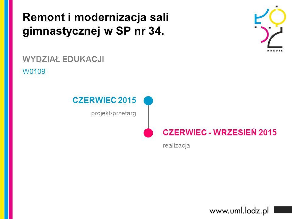 CZERWIEC 2015 projekt/przetarg CZERWIEC - WRZESIEŃ 2015 realizacja Remont i modernizacja sali gimnastycznej w SP nr 34. WYDZIAŁ EDUKACJI W0109