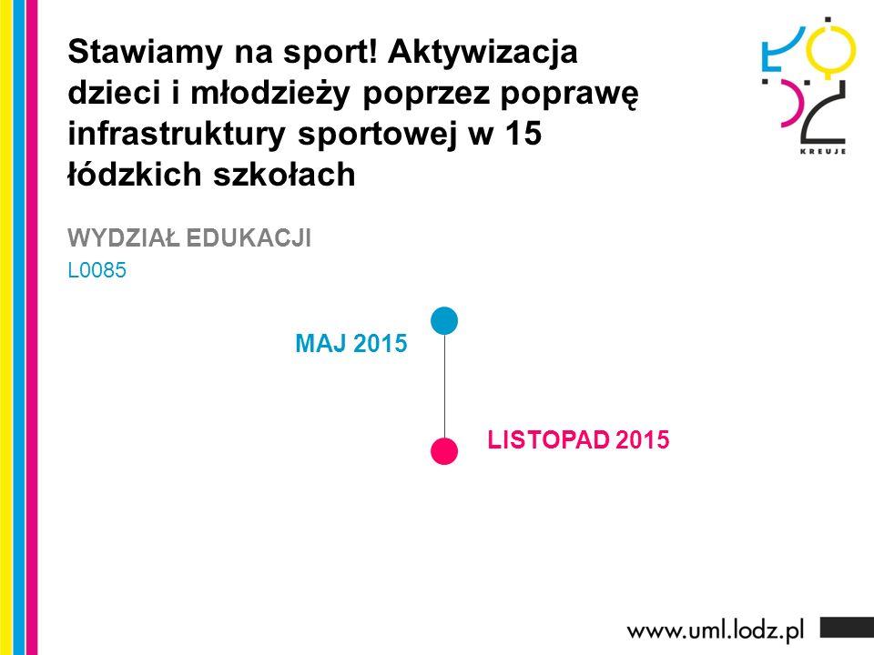 MAJ 2015 LISTOPAD 2015 Stawiamy na sport! Aktywizacja dzieci i młodzieży poprzez poprawę infrastruktury sportowej w 15 łódzkich szkołach WYDZIAŁ EDUKA