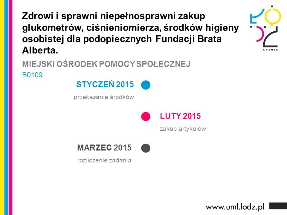 STYCZEŃ 2015 przekazanie środków LUTY 2015 zakup artykułów MARZEC 2015 rozliczenie zadania Zdrowi i sprawni niepełnosprawni zakup glukometrów, ciśnien