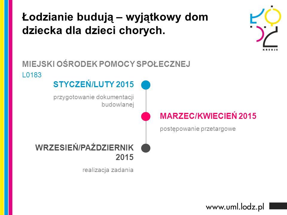 STYCZEŃ/LUTY 2015 przygotowanie dokumentacji budowlanej MARZEC/KWIECIEŃ 2015 postępowanie przetargowe WRZESIEŃ/PAŹDZIERNIK 2015 realizacja zadania Łod