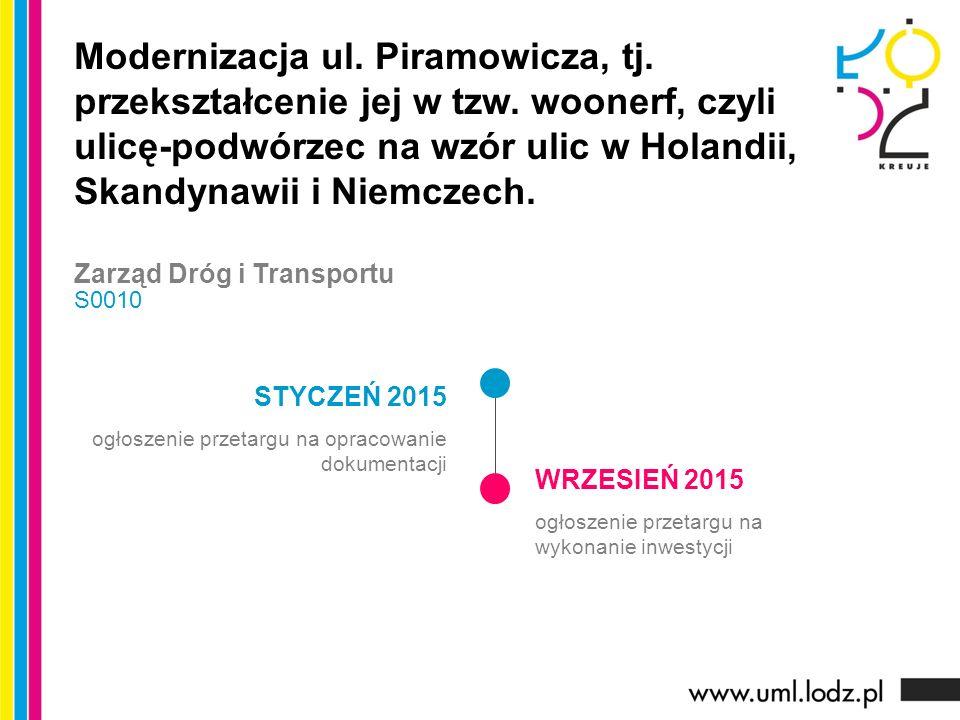 STYCZEŃ 2015 ogłoszenie przetargu na opracowanie dokumentacji WRZESIEŃ 2015 ogłoszenie przetargu na wykonanie inwestycji Modernizacja ul. Piramowicza,