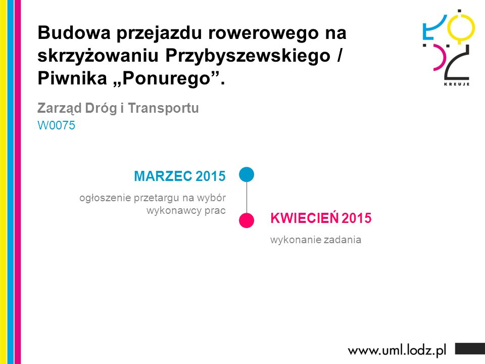 MARZEC 2015 ogłoszenie przetargu na wybór wykonawcy prac KWIECIEŃ 2015 wykonanie zadania Budowa przejazdu rowerowego na skrzyżowaniu Przybyszewskiego