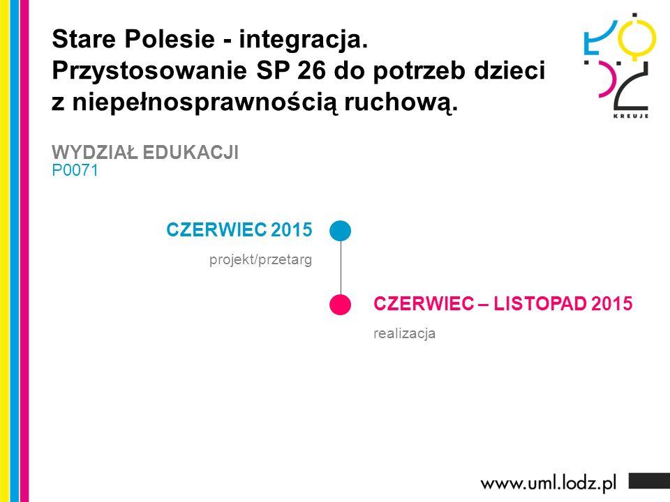 CZERWIEC 2015 projekt/przetarg CZERWIEC – LISTOPAD 2015 realizacja Stare Polesie - integracja. Przystosowanie SP 26 do potrzeb dzieci z niepełnosprawn