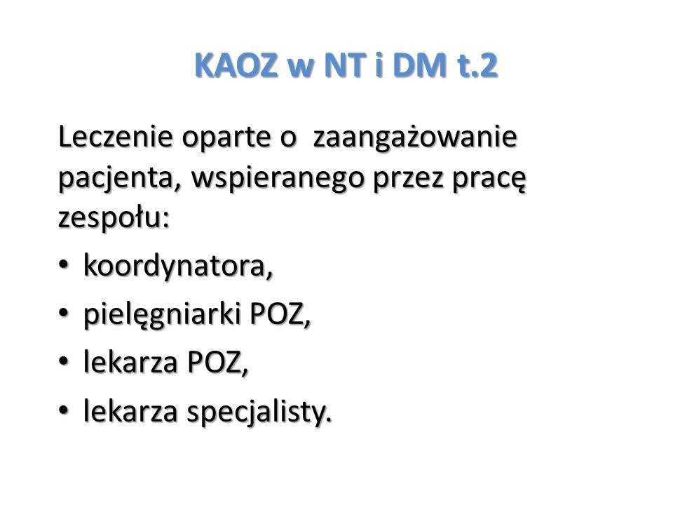 KAOZ w NT i DM t.2 Leczenie oparte o zaangażowanie pacjenta, wspieranego przez pracę zespołu: koordynatora, koordynatora, pielęgniarki POZ, pielęgniar