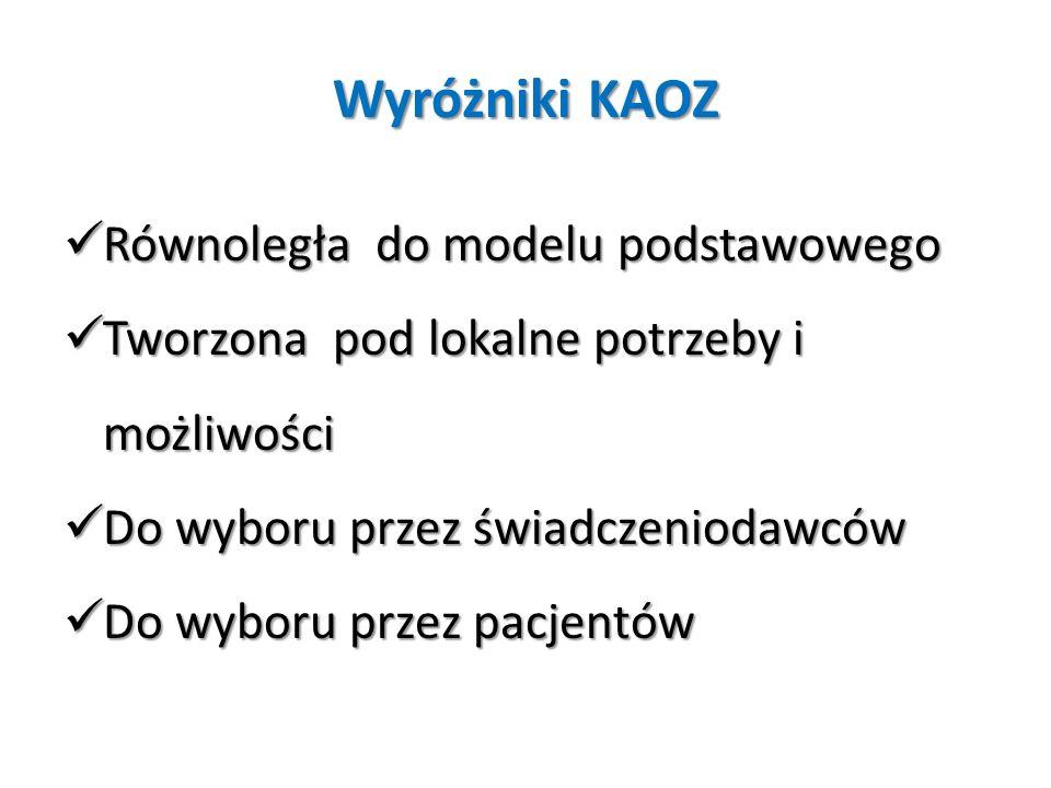 Wyróżniki KAOZ Równoległa do modelu podstawowego Równoległa do modelu podstawowego Tworzona pod lokalne potrzeby i możliwości Tworzona pod lokalne pot