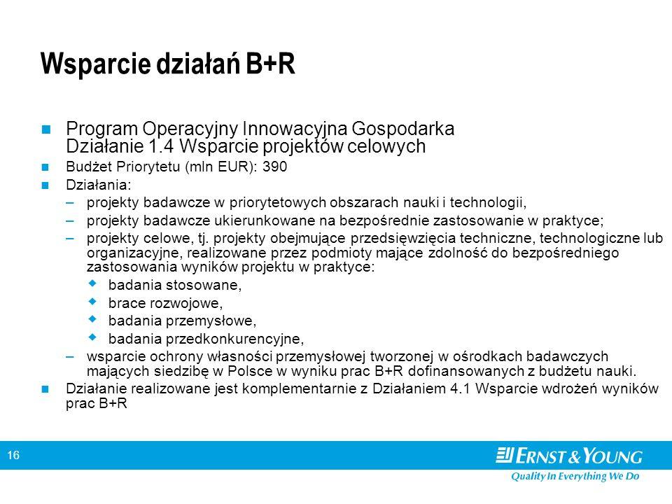16 Wsparcie działań B+R Program Operacyjny Innowacyjna Gospodarka Działanie 1.4 Wsparcie projektów celowych Budżet Priorytetu (mln EUR): 390 Działania: –projekty badawcze w priorytetowych obszarach nauki i technologii, –projekty badawcze ukierunkowane na bezpośrednie zastosowanie w praktyce; –projekty celowe, tj.