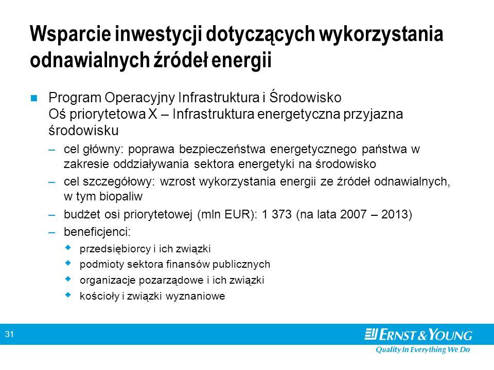 31 Wsparcie inwestycji dotyczących wykorzystania odnawialnych źródeł energii Program Operacyjny Infrastruktura i Środowisko Oś priorytetowa X – Infrastruktura energetyczna przyjazna środowisku –cel główny: poprawa bezpieczeństwa energetycznego państwa w zakresie oddziaływania sektora energetyki na środowisko –cel szczegółowy: wzrost wykorzystania energii ze źródeł odnawialnych, w tym biopaliw –budżet osi priorytetowej (mln EUR): 1 373 (na lata 2007 – 2013) –beneficjenci:  przedsiębiorcy i ich związki  podmioty sektora finansów publicznych  organizacje pozarządowe i ich związki  kościoły i związki wyznaniowe