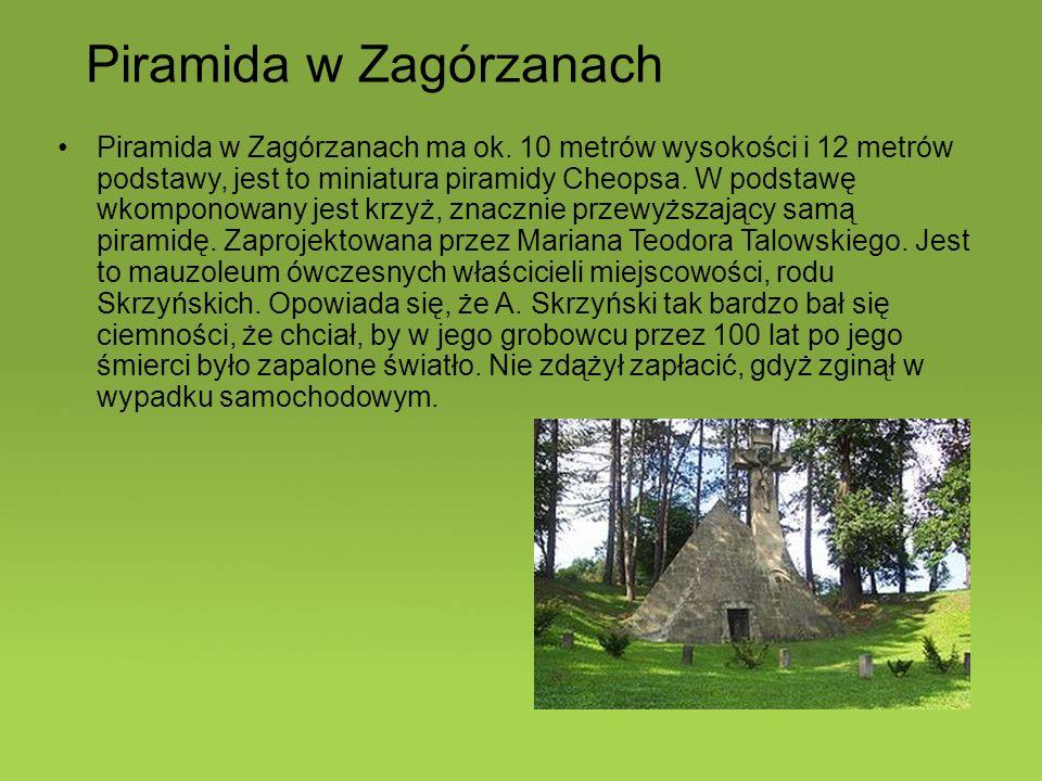 Piramida w Zagórzanach ma ok. 10 metrów wysokości i 12 metrów podstawy, jest to miniatura piramidy Cheopsa. W podstawę wkomponowany jest krzyż, znaczn