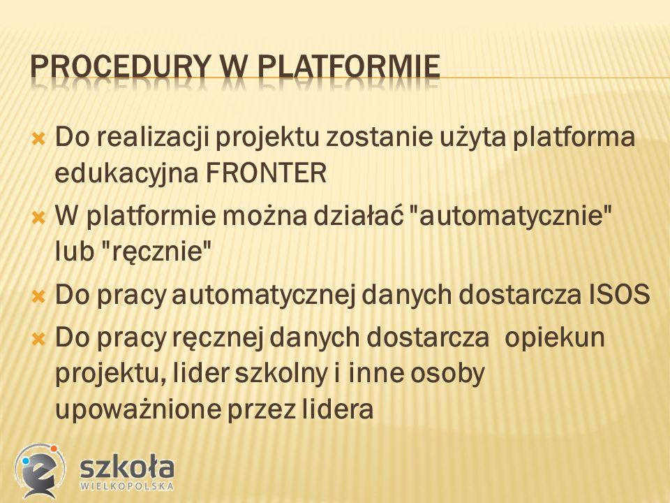  Do realizacji projektu zostanie użyta platforma edukacyjna FRONTER  W platformie można działać automatycznie lub ręcznie  Do pracy automatycznej danych dostarcza ISOS  Do pracy ręcznej danych dostarcza opiekun projektu, lider szkolny i inne osoby upoważnione przez lidera