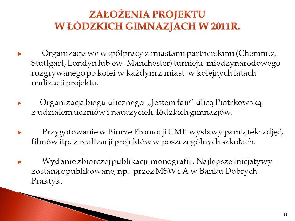 11 ► Organizacja we współpracy z miastami partnerskimi (Chemnitz, Stuttgart, Londyn lub ew.