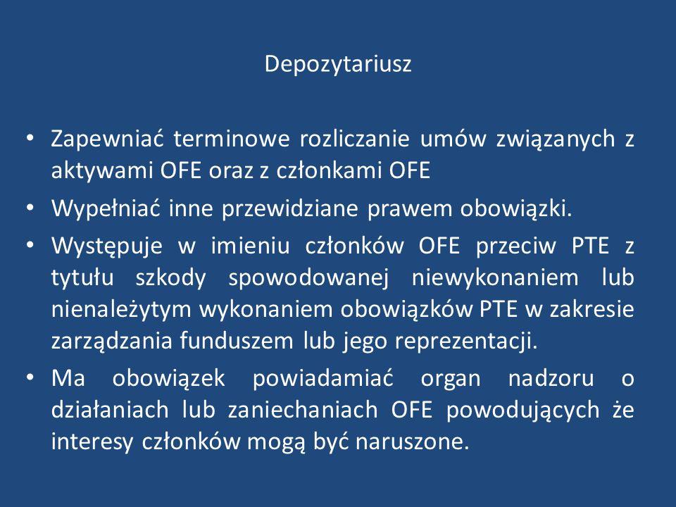 Depozytariusz Zapewniać terminowe rozliczanie umów związanych z aktywami OFE oraz z członkami OFE Wypełniać inne przewidziane prawem obowiązki.