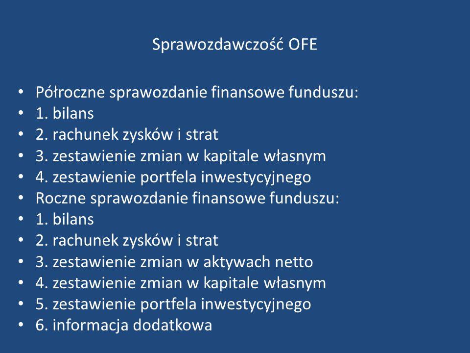 Sprawozdawczość OFE Półroczne sprawozdanie finansowe funduszu: 1.