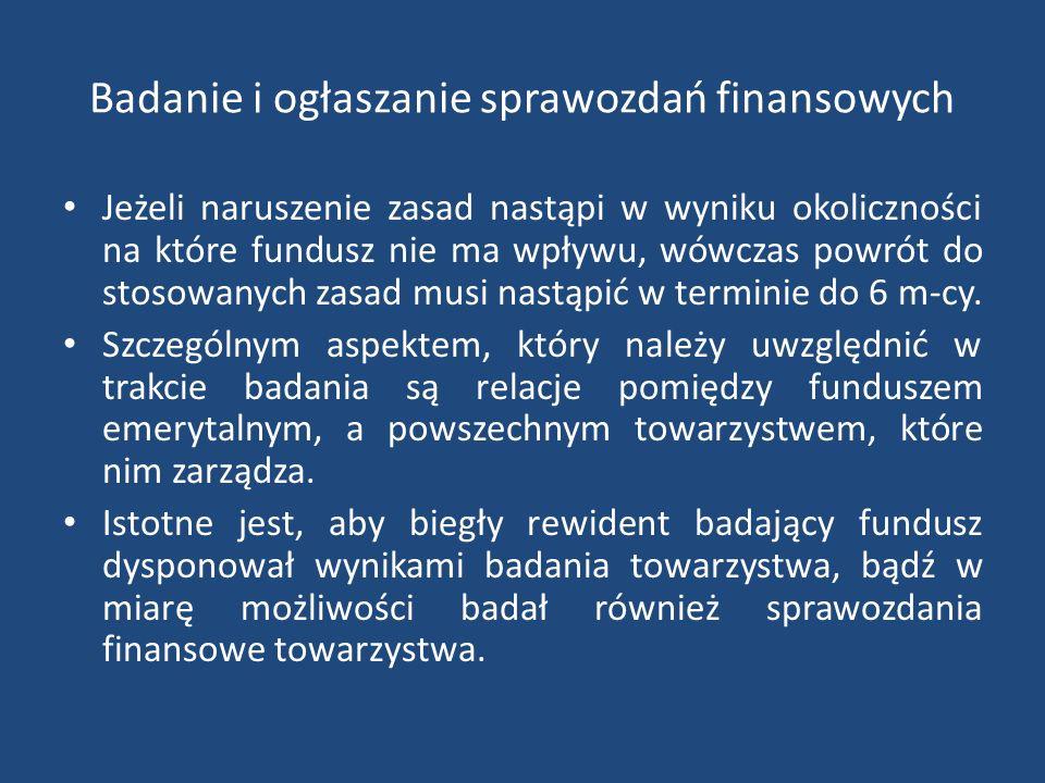 Badanie i ogłaszanie sprawozdań finansowych Jeżeli naruszenie zasad nastąpi w wyniku okoliczności na które fundusz nie ma wpływu, wówczas powrót do stosowanych zasad musi nastąpić w terminie do 6 m-cy.