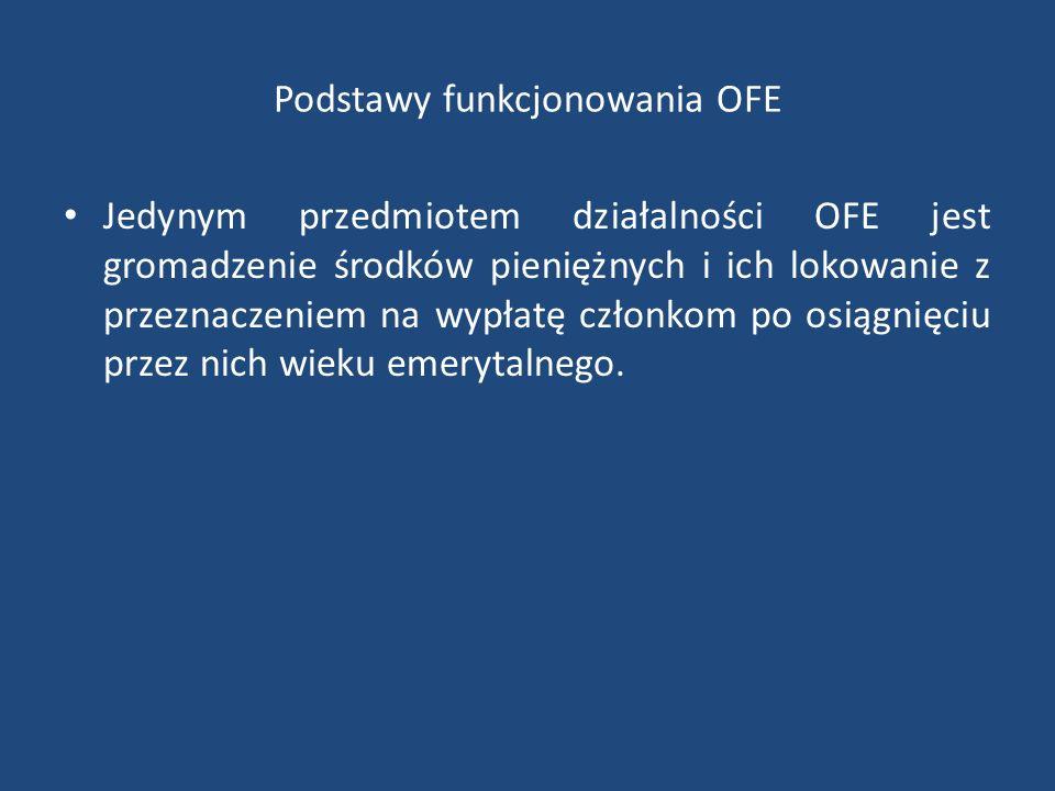 Podstawy funkcjonowania OFE Jedynym przedmiotem działalności OFE jest gromadzenie środków pieniężnych i ich lokowanie z przeznaczeniem na wypłatę członkom po osiągnięciu przez nich wieku emerytalnego.