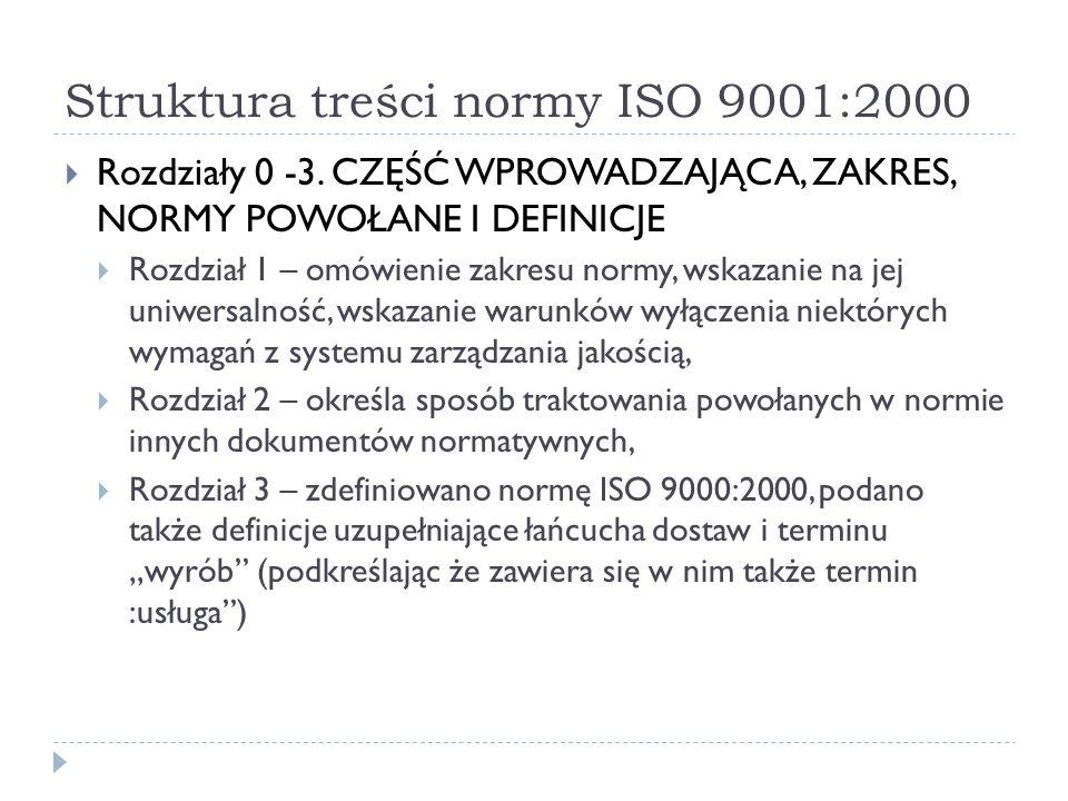 Struktura treści normy ISO 9001:2000  Rozdziały 0 -3.