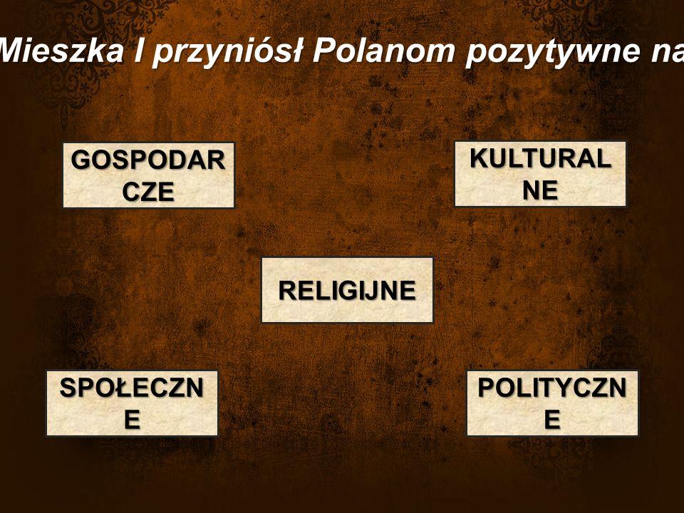 Chrzest Mieszka I przyniósł Polanom pozytywne następstwa POLITYCZN E RELIGIJNE SPOŁECZN E KULTURAL NE GOSPODAR CZE