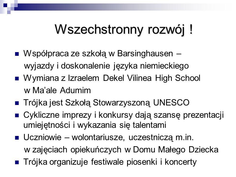 Wszechstronny rozwój ! Współpraca ze szkołą w Barsinghausen – wyjazdy i doskonalenie języka niemieckiego Wymiana z Izraelem Dekel Vilinea High School
