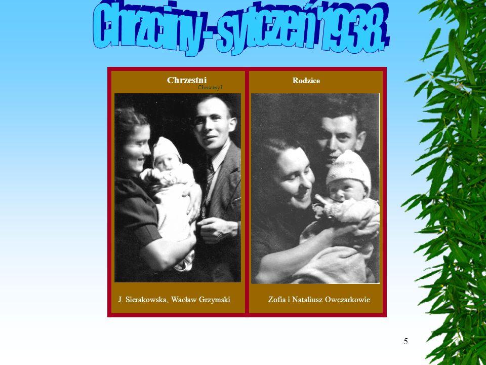 5 J. Sierakowska, Wacław GrzymskiZofia i Nataliusz Owczarkowie Chrzestni Rodzice Chrzciny1