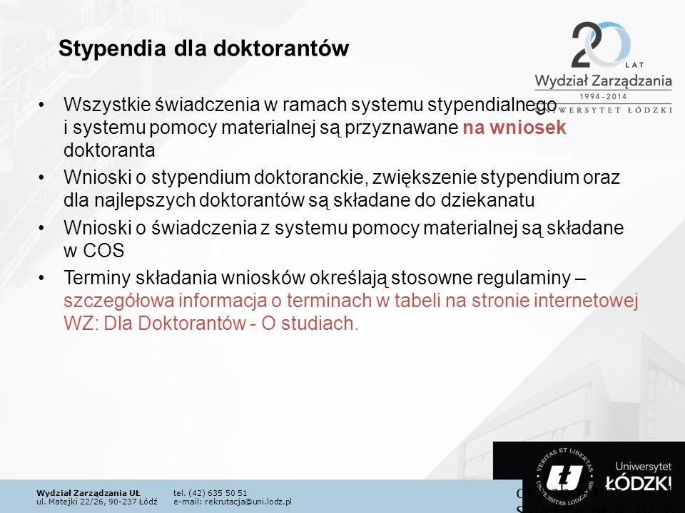 Wydział Zarządzania UŁtel. (42) 635 50 51 ul. Matejki 22/26, 90-237 Łódźe-mail: rekrutacja@uni.lodz.pl Wszystkie świadczenia w ramach systemu stypendi
