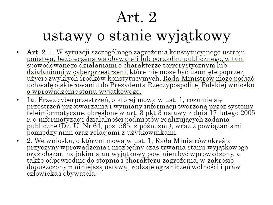 Art. 2 ustawy o stanie wyjątkowy Art. 2. 1. W sytuacji szczególnego zagrożenia konstytucyjnego ustroju państwa, bezpieczeństwa obywateli lub porządku