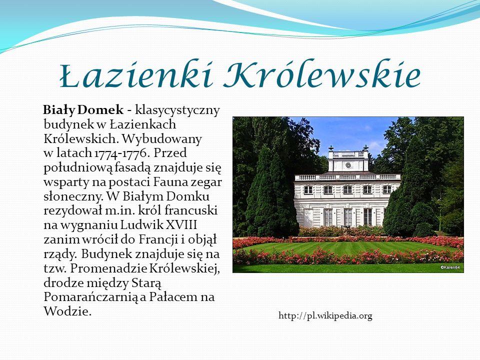 Ł azienki Królewskie Biały Domek - klasycystyczny budynek w Łazienkach Królewskich. Wybudowany w latach 1774-1776. Przed południową fasadą znajduje si