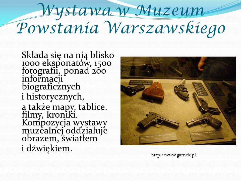 Wystawa w Muzeum Powstania Warszawskiego Składa się na nią blisko 1000 eksponatów, 1500 fotografii, ponad 200 informacji biograficznych i historycznych, a także mapy, tablice, filmy, kroniki.