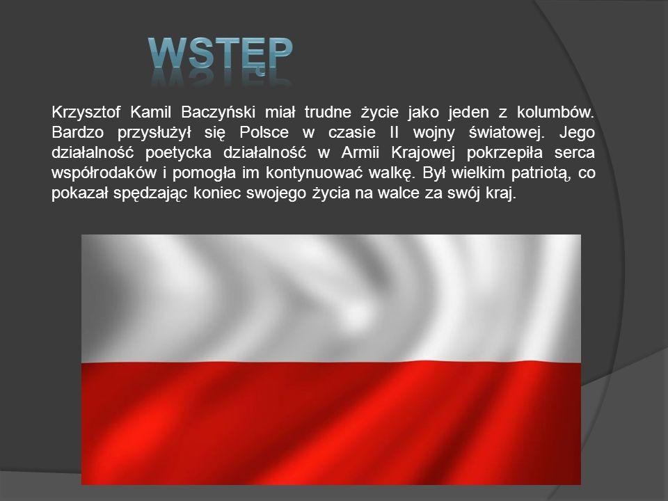 Wstęp Krzysztof Kamil Baczyński – Biografia Pokolenie kolumbów Służba w Armii Krajowej Kamienie na szaniec Bibliografia