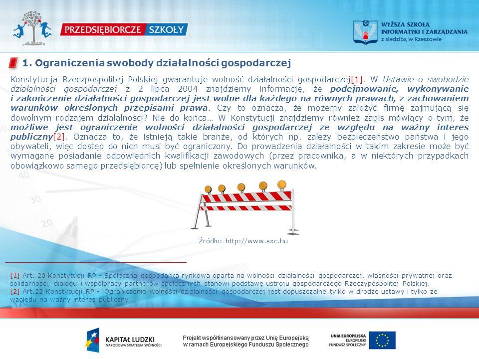 Konstytucja Rzeczpospolitej Polskiej gwarantuje wolność działalności gospodarczej[1]. W Ustawie o swobodzie działalności gospodarczej z 2 lipca 2004 z