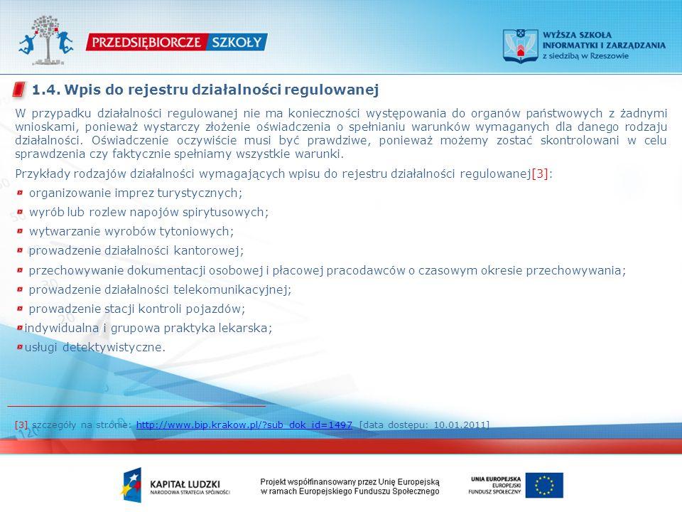 W przypadku działalności regulowanej nie ma konieczności występowania do organów państwowych z żadnymi wnioskami, ponieważ wystarczy złożenie oświadczenia o spełnianiu warunków wymaganych dla danego rodzaju działalności.