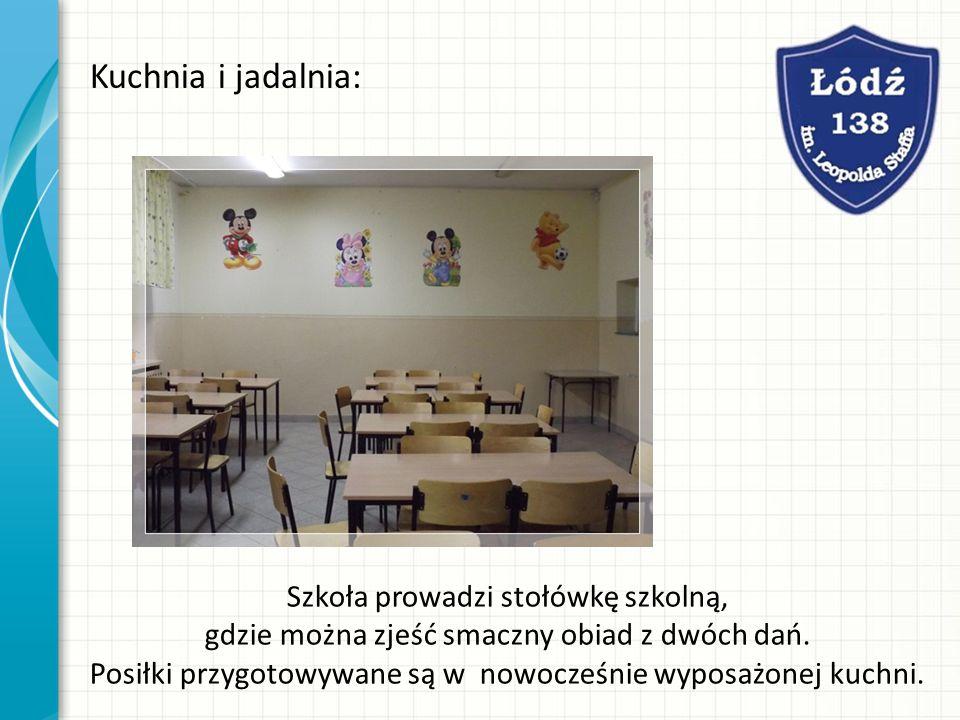 Kuchnia i jadalnia: Szkoła prowadzi stołówkę szkolną, gdzie można zjeść smaczny obiad z dwóch dań. Posiłki przygotowywane są w nowocześnie wyposażonej