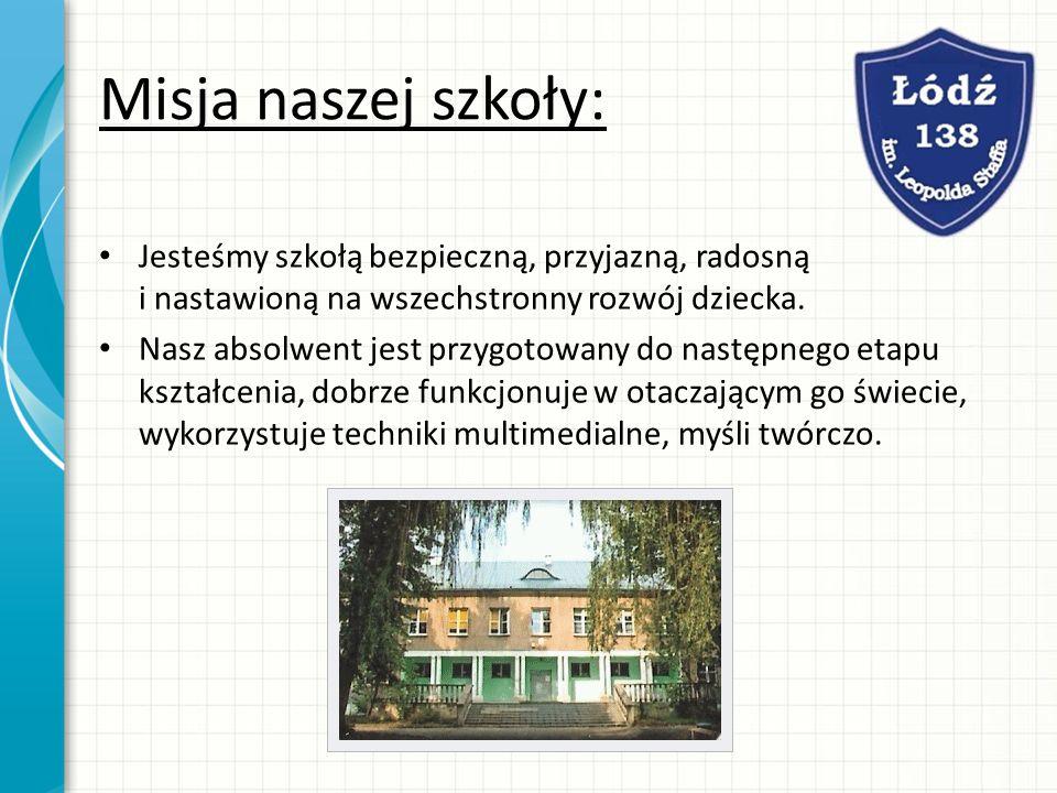 Misja naszej szkoły: Jesteśmy szkołą bezpieczną, przyjazną, radosną i nastawioną na wszechstronny rozwój dziecka.