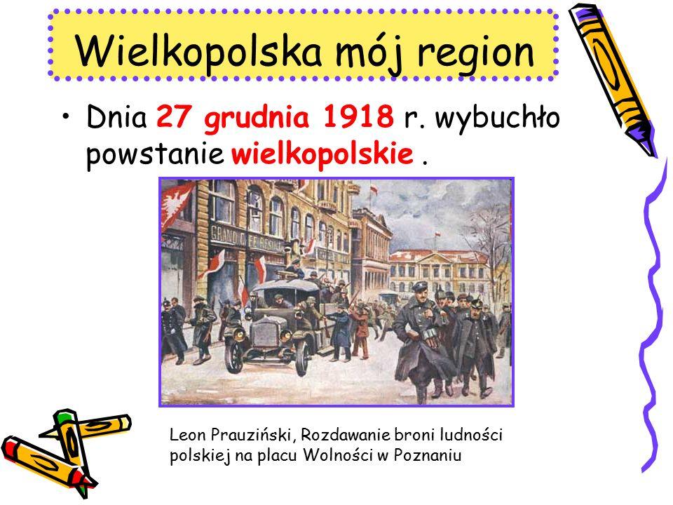 Dnia 27 grudnia 1918 r. wybuchło powstanie wielkopolskie. Wielkopolska mój region Leon Prauziński, Rozdawanie broni ludności polskiej na placu Wolnośc
