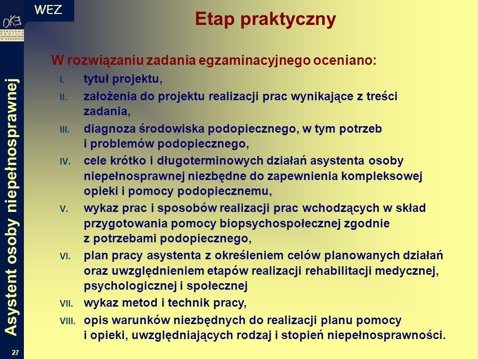 WEZ 27 W rozwiązaniu zadania egzaminacyjnego oceniano: I. tytuł projektu, II. założenia do projektu realizacji prac wynikające z treści zadania, III.