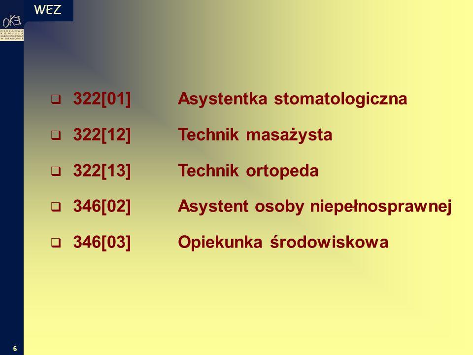 WEZ 6  322[01]Asystentka stomatologiczna  322[12]Technik masażysta  322[13]Technik ortopeda  346[02]Asystent osoby niepełnosprawnej  346[03]Opiek