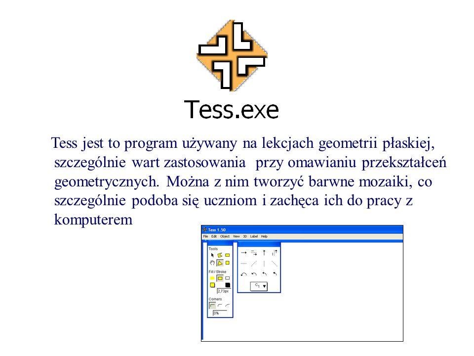 Tess jest to program używany na lekcjach geometrii płaskiej, szczególnie wart zastosowania przy omawianiu przekształceń geometrycznych.