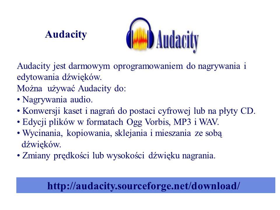Audacity Audacity jest darmowym oprogramowaniem do nagrywania i edytowania dźwięków.