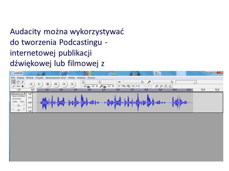 Audacity można wykorzystywać do tworzenia Podcastingu - internetowej publikacji dźwiękowej lub filmowej z zastosowaniem technologii RSS.